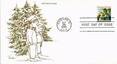 Dr Jim Stamps Us Botticelli Madonna Christmas First Day Cover 1981 Vonda