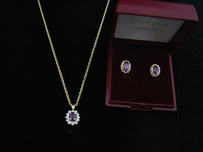"""Pretty Vintage Hallmarked 9ct amethyst and diamond 18"""" necklace amethyst earring"""