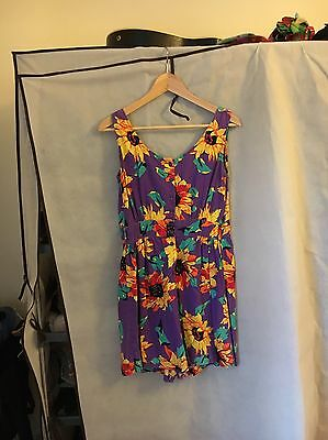 Vintage Retro Sunflower Playsuit Size Small Medium Women's
