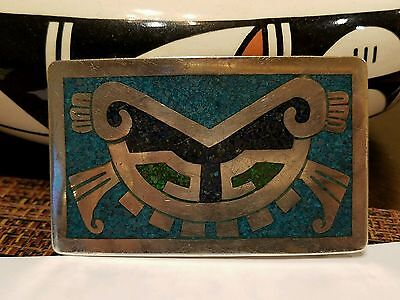 Antique TAXCO MEXICO Sterling Silver and Turquoise Buckle AZTEC Signed 1940's