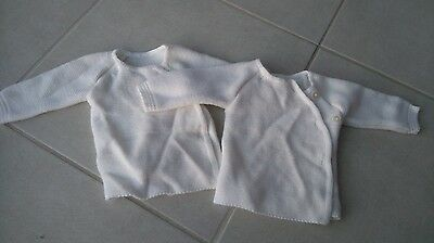 2 Gilets blanc taille naissance