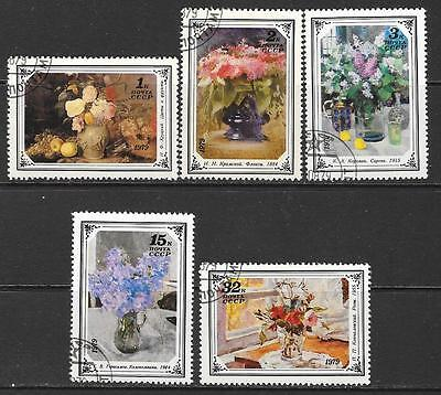 1979 Russia Flower Paintings full set of 5 stamps that are cancelled to order