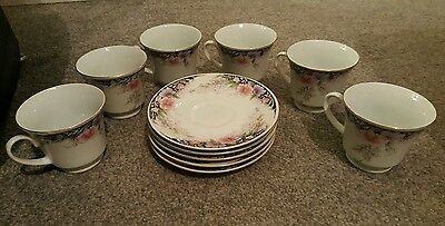 made in china 6 teacups and 5 tea plates floral
