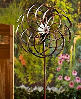 Double Spiral Solar Lighted Garden Wind Spinner Yard Stake Lawn Art Home Decor