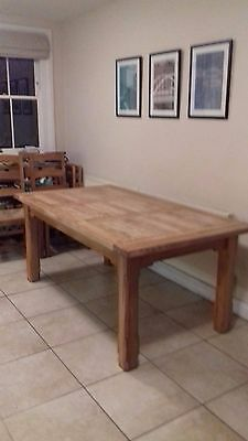 Large oak farmhouse style kitchen dining table