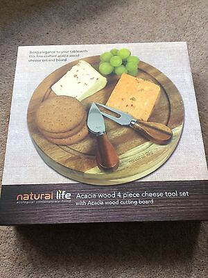 Natural Life 4 Piece Kitchen Cheese Knife Set With Acacia Wooden Cutting Board