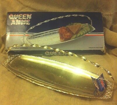 New Vintage Queen Anne Tarnish Resistant Silver Plated Sandwich Tray