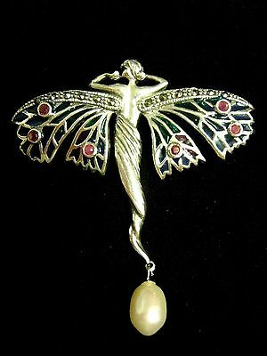 "2"" Sterling Silver French inspired stained Glass Goddess Angel Fairy Brooch pin"