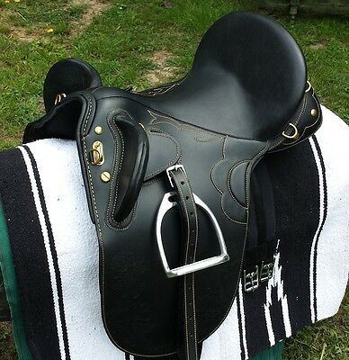 "Stock saddle Black leather fully mounted 16"" 18"""