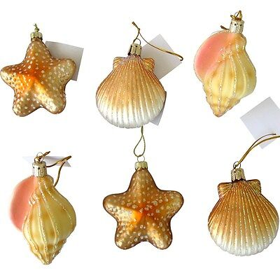 6 Blown Glass Seashell Christmas Ornaments Shell