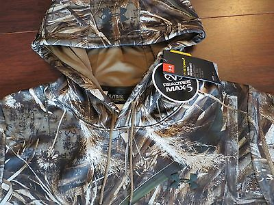 NWT $75 Under Armour Storm Realtree Max 5 Camo Cold Gear Duck Hoodie Hunting XL