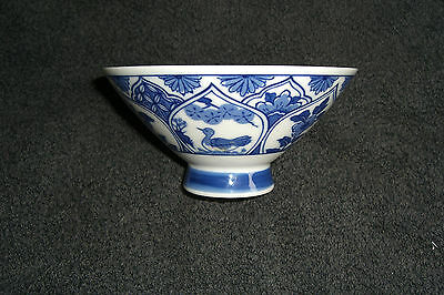 Oriental Blue And White Porcelain Rice/soup Dish