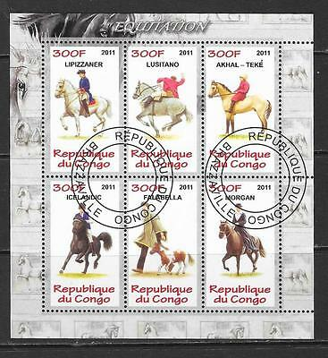2011 Congo Horses miniature sheet that is cancelled to order