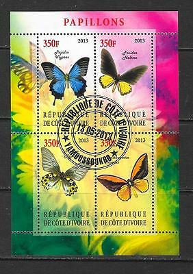 2013 Ivory Coast Butterflies miniature sheet that is cancelled to order