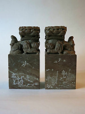 Antique Hand Carved Chinese Fen Shui Foo Dogs