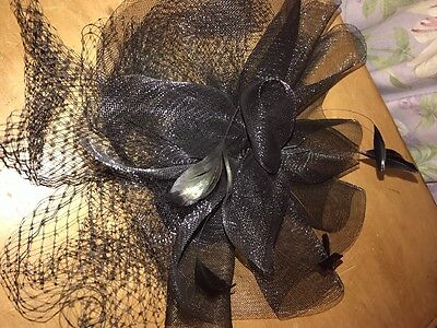 black fascinater two stunning feathers wedding or races