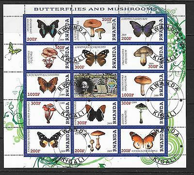 2009 Rwanda Butterflies and mushrooms miniature sheet that is cancelled to order