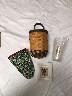Longaberger 2002 Santa's Helper Christmas Basket Combo with American Holly Liner
