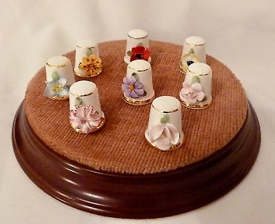 8 Royal Stratford Thimbles - Applied Flowers