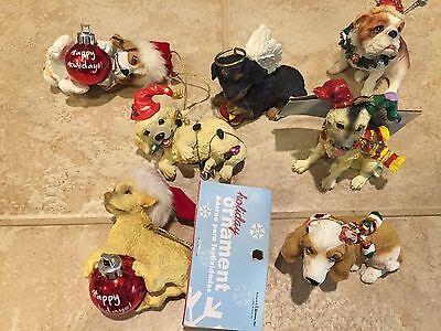 Cute Lot of Christmas Dog Ornaments by Roman Inc. Bulldog,Lab,Beagle