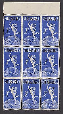 South West Africa 1949 UPU 3d stamps in block of 9 MNH