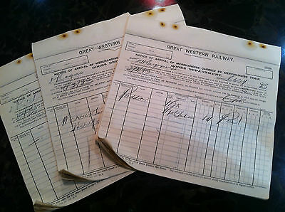 G.w.r.lyonshall Station Goods Carried By Train Records Sheets 1933
