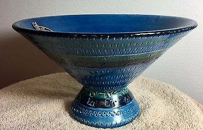 Vintage Rossini Original Hand Decorated Bowl - Cobalt Blue - Made In Italy