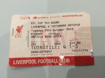 Liverpool V Tottenham Spurs Used Ticket Stub - League Cup - 25 October 2016