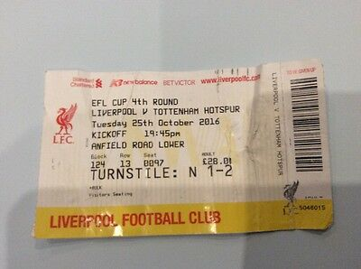 Liverpool V Tottenham Spurs Used Ticket Stub - League Cup - 25 October 2016 Away