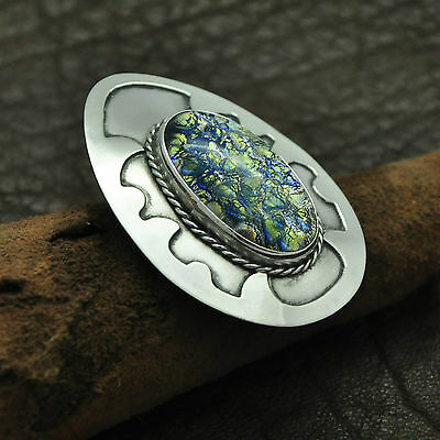 Vintage 925 Sterling Silver Brooch / Pendant with Blue & Yellow Cabochon Stone