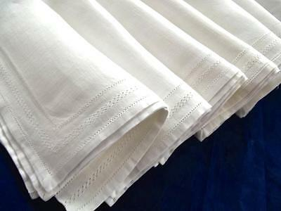 "7 Antique Belgian White Linen 16"" Fancy Lunch Hemstitched Napkins Hand Drawnwork"