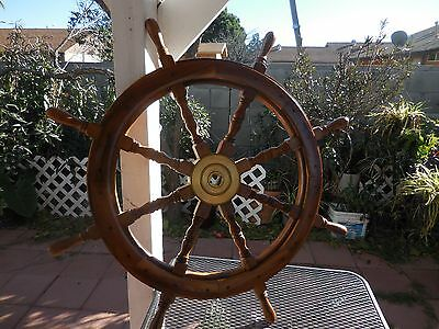 Vintage Nautical Ship's Wheel in Cherry and Brass Large 36 Inch