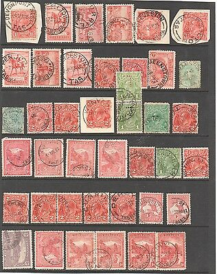 A Sheet with Tasmanain commonwealth and pictorial period cancellations 41 in all