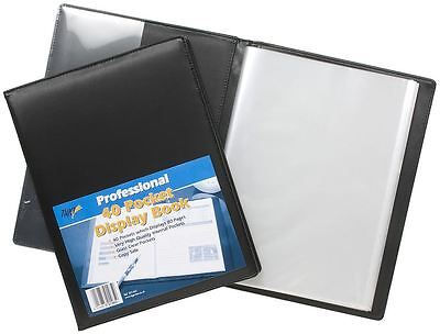 A4 Deluxe Hardback Display Book Black Padded Leather Look Business Folder 40pkt
