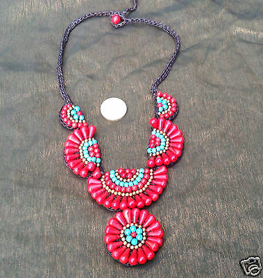 Handmade Hill Tribe Red Coral Turquoise Howlite Bib Macramé Work Necklace