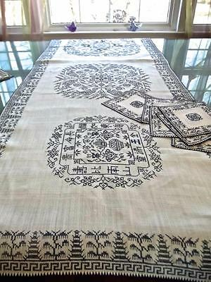Vintage Unused Chinese Hand Embroidered Rice Linen 18x72 Runner Blue Pagoda