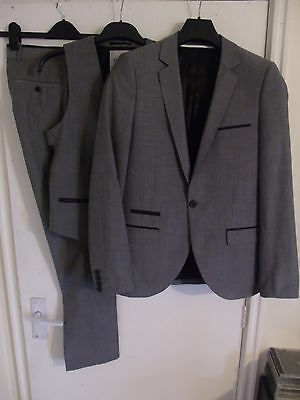 "TOPMAN Men's Grey with Black Piping 3Pc Suit C36"" Regular W30"" L32"" Wool Blend"