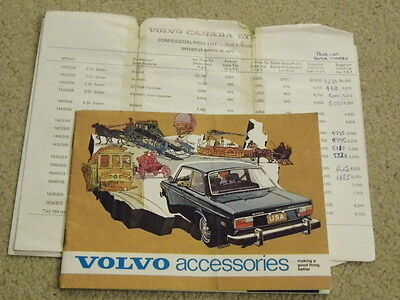 1973 volvo accessories guide with rare sales brochure dealer internal price list