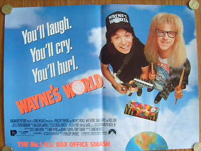 Wayne's World original UK promo poster 16 x 12 *