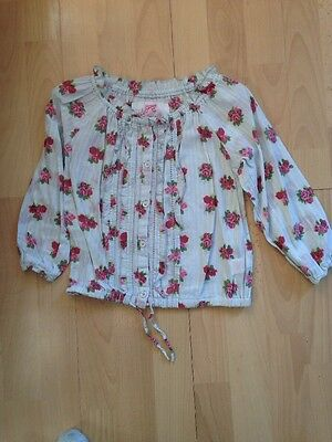 Girls Long Sleeved Pale Blue & Pink Floral Blouse Age 3-4