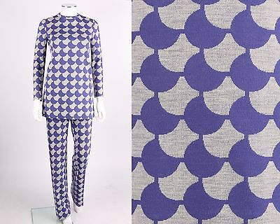 VTG 1960s JACQUES TIFFEAU 2-PC PERIWINKLE WOOL MOD TUNIC PANTS SET SZ S