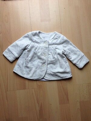 Next Baby Winter White With Silver Floral Pattern Girls Coat Age 6-9 Months