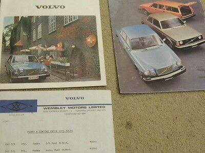 1975  Volvo lot of 2  sales brochure dealer with price list!