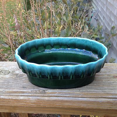 Vintage Hull Pottery Oval Planter Model I-21 Green Blue Drip Glaze Made In USA