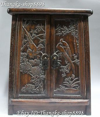 "14"" Chinese Wood Carving Flower Bird Autumn Winter Word Cabinet Cabinets Locker"