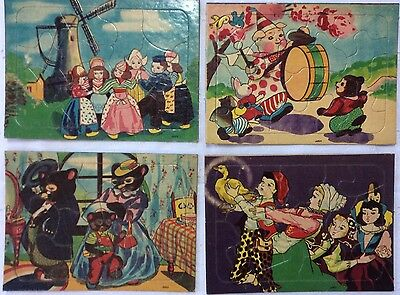 1930s vtg childs cardboard 15 piece puzzle - Lot Of 4 -  Perforation Intact RARE