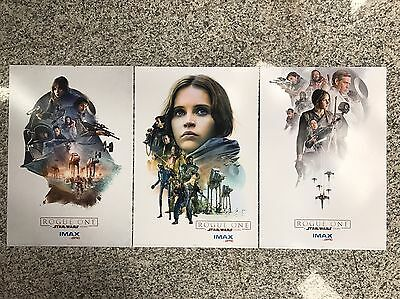 "Star Wars Rogue One AMC Exclusive IMAX Full 3 Poster Set 13"" X 19"""