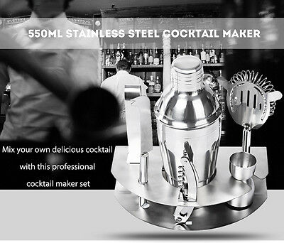 7pcs 550ml Professional Stainless Steel Cocktail Maker Shaker Jigger