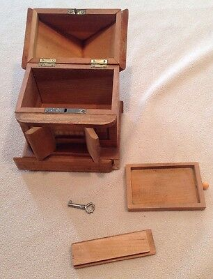 ANTIQUE Wood House Bank With Hidden Key