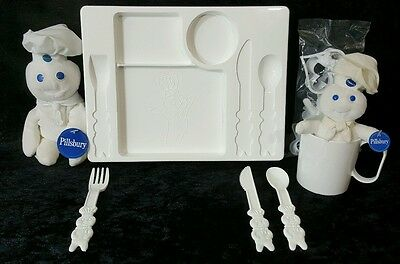 Pillsbury Doughboy Child Size Tray Plate Cup Utensils w Box Cookie Cutters Plush